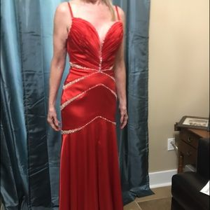 Long Red Ball or prom gown